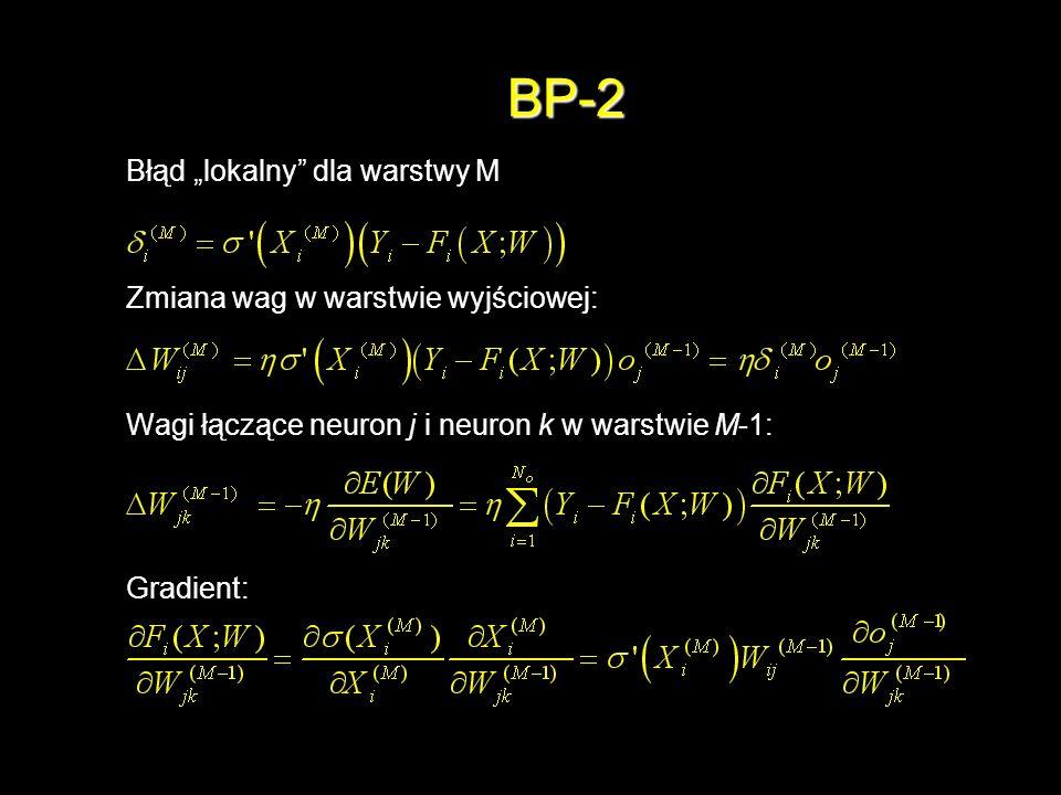 BP-2 Błąd lokalny dla warstwy M Zmiana wag w warstwie wyjściowej: Wagi łączące neuron j i neuron k w warstwie M-1: Gradient: