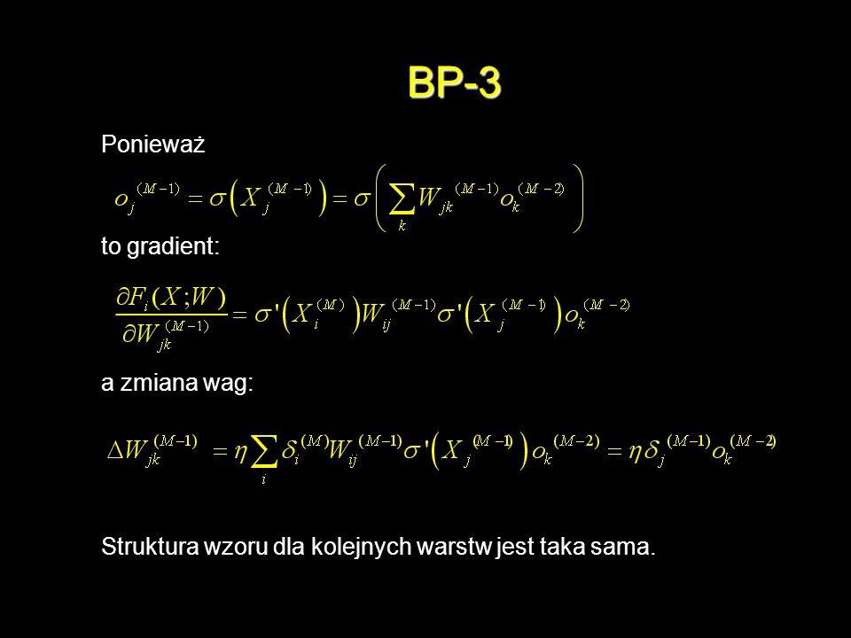 BP-3 Ponieważ to gradient: a zmiana wag: Struktura wzoru dla kolejnych warstw jest taka sama.
