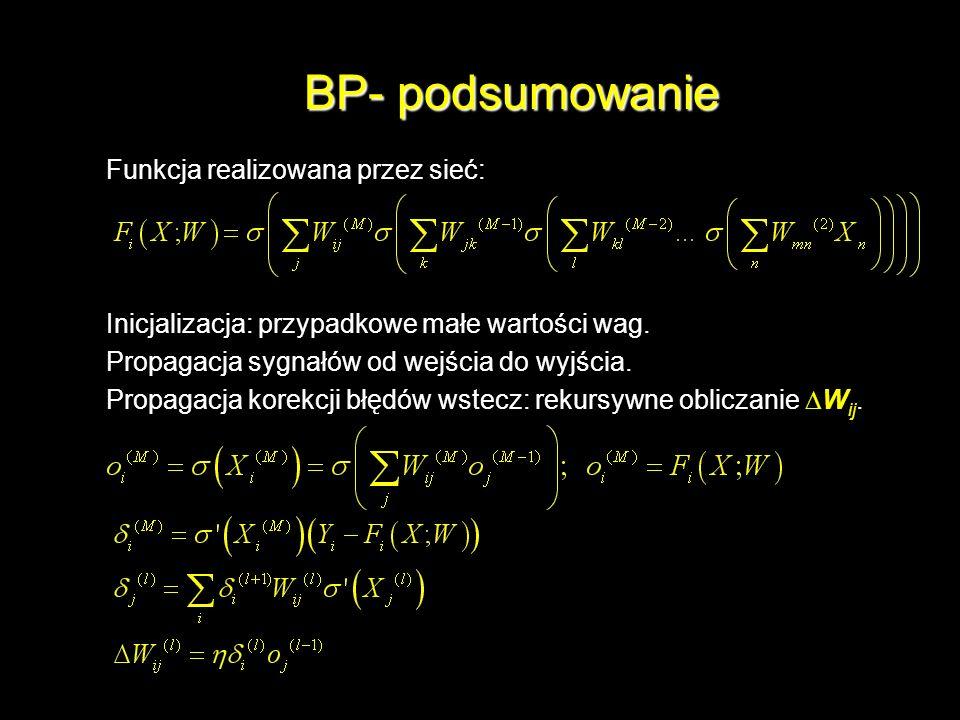 BP- podsumowanie Funkcja realizowana przez sieć: Inicjalizacja: przypadkowe małe wartości wag. Propagacja sygnałów od wejścia do wyjścia. Propagacja k