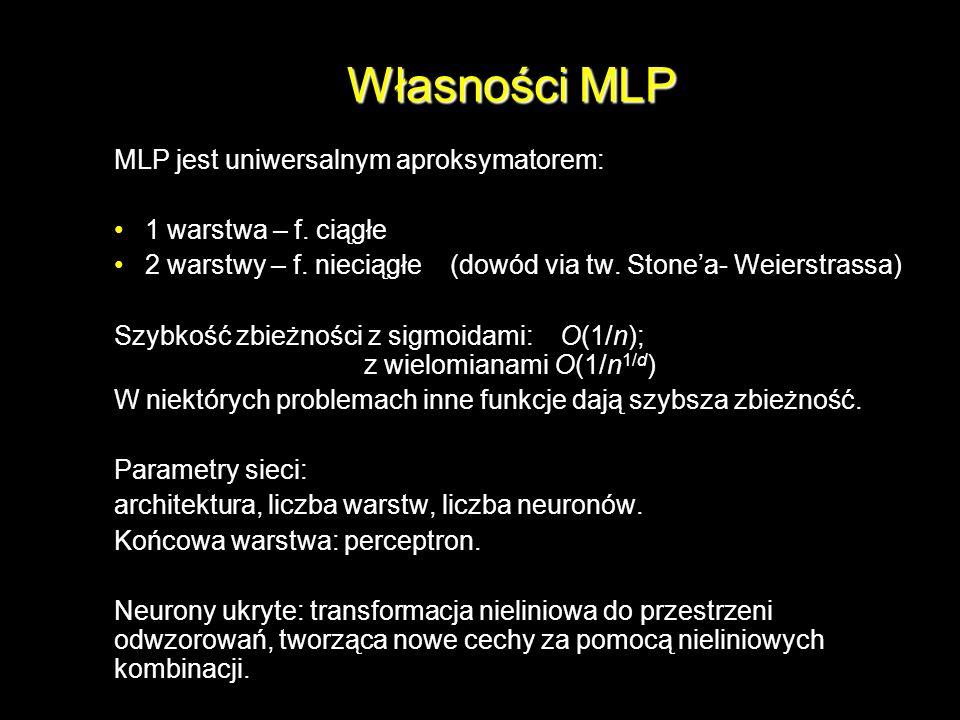 Własności MLP MLP jest uniwersalnym aproksymatorem: 1 warstwa – f. ciągłe 2 warstwy – f. nieciągłe (dowód via tw. Stonea- Weierstrassa) Szybkość zbież