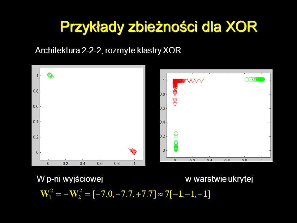 Przykłady zbieżności dla XOR Architektura 2-2-2, rozmyte klastry XOR. W p-ni wyjściowejw warstwie ukrytej
