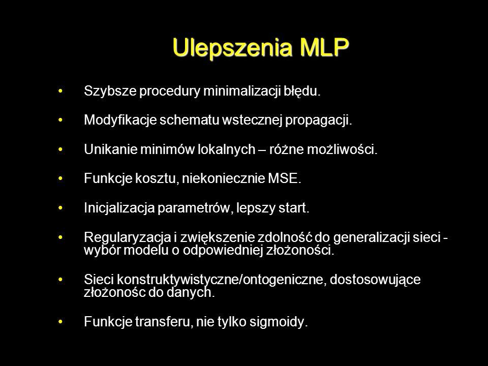 Ulepszenia MLP Szybsze procedury minimalizacji błędu. Modyfikacje schematu wstecznej propagacji. Unikanie minimów lokalnych – różne możliwości. Funkcj