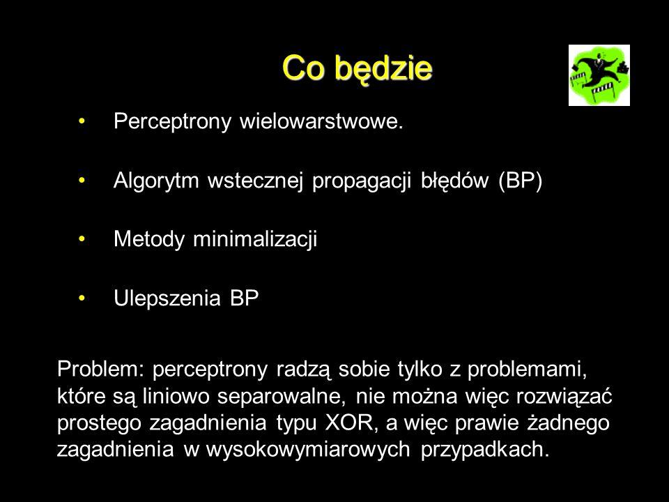 Co będzie Perceptrony wielowarstwowe. Algorytm wstecznej propagacji błędów (BP) Metody minimalizacji Ulepszenia BP Problem: perceptrony radzą sobie ty