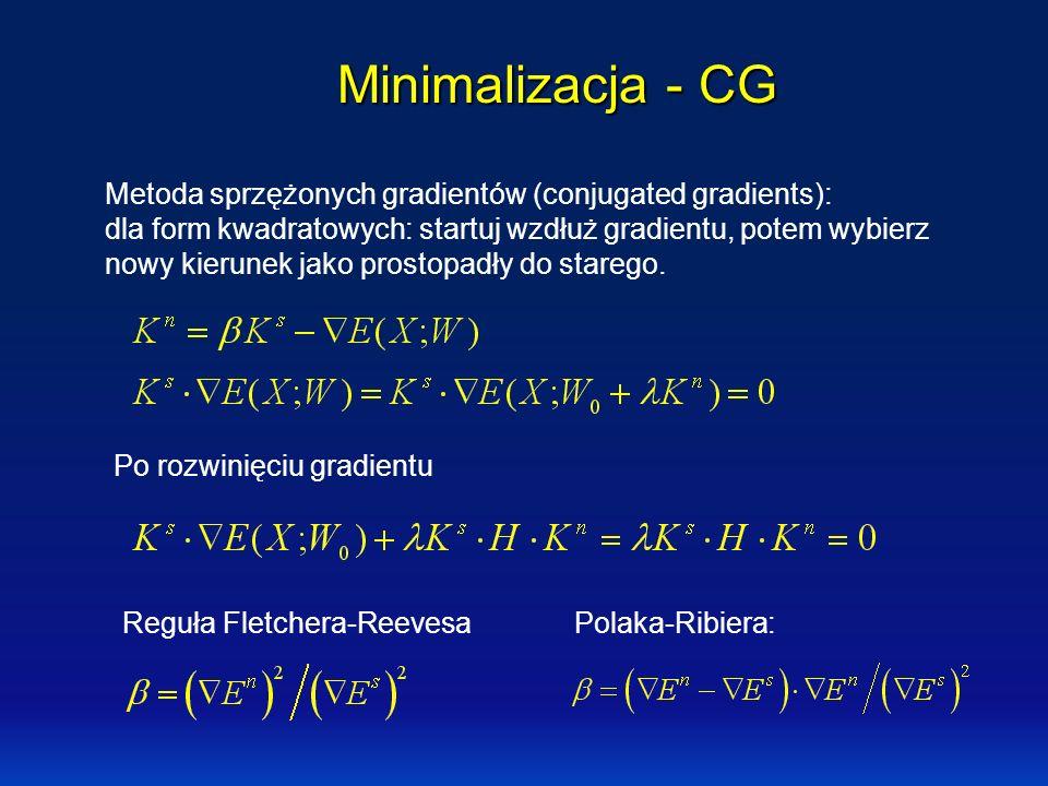 Minimalizacja - CG Metoda sprzężonych gradientów (conjugated gradients): dla form kwadratowych: startuj wzdłuż gradientu, potem wybierz nowy kierunek