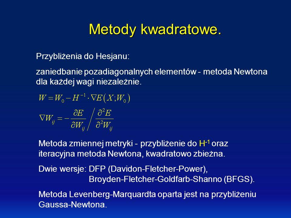 Metody kwadratowe. Przybliżenia do Hesjanu: zaniedbanie pozadiagonalnych elementów - metoda Newtona dla każdej wagi niezależnie. Metoda zmiennej metry