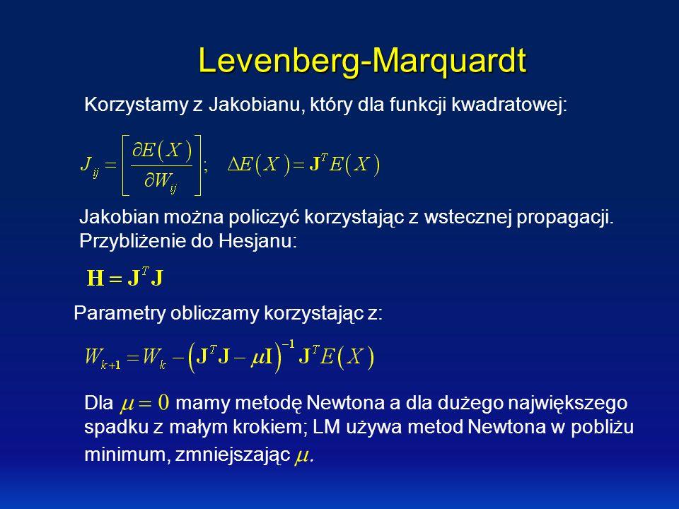 Levenberg-Marquardt Korzystamy z Jakobianu, który dla funkcji kwadratowej: Jakobian można policzyć korzystając z wstecznej propagacji. Przybliżenie do