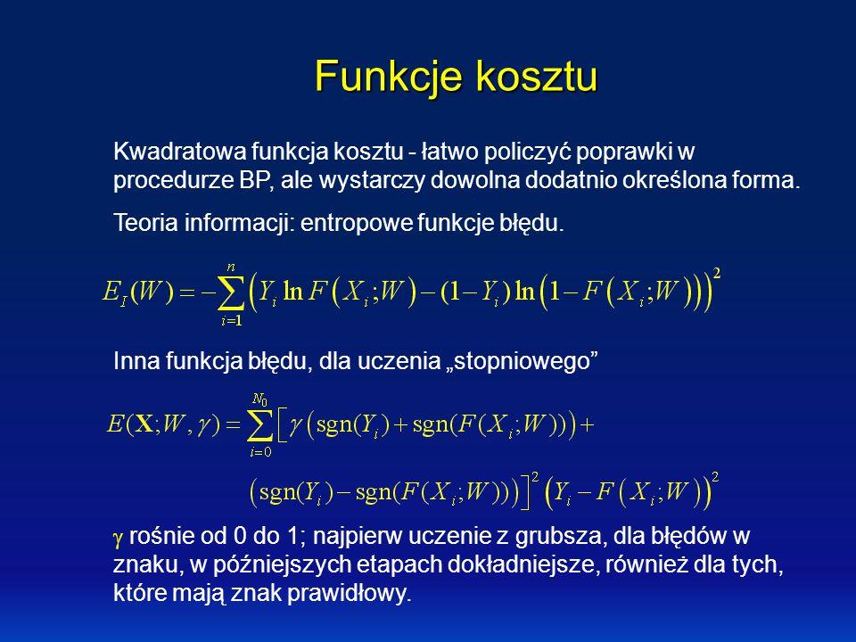 Funkcje kosztu Kwadratowa funkcja kosztu - łatwo policzyć poprawki w procedurze BP, ale wystarczy dowolna dodatnio określona forma. Teoria informacji: