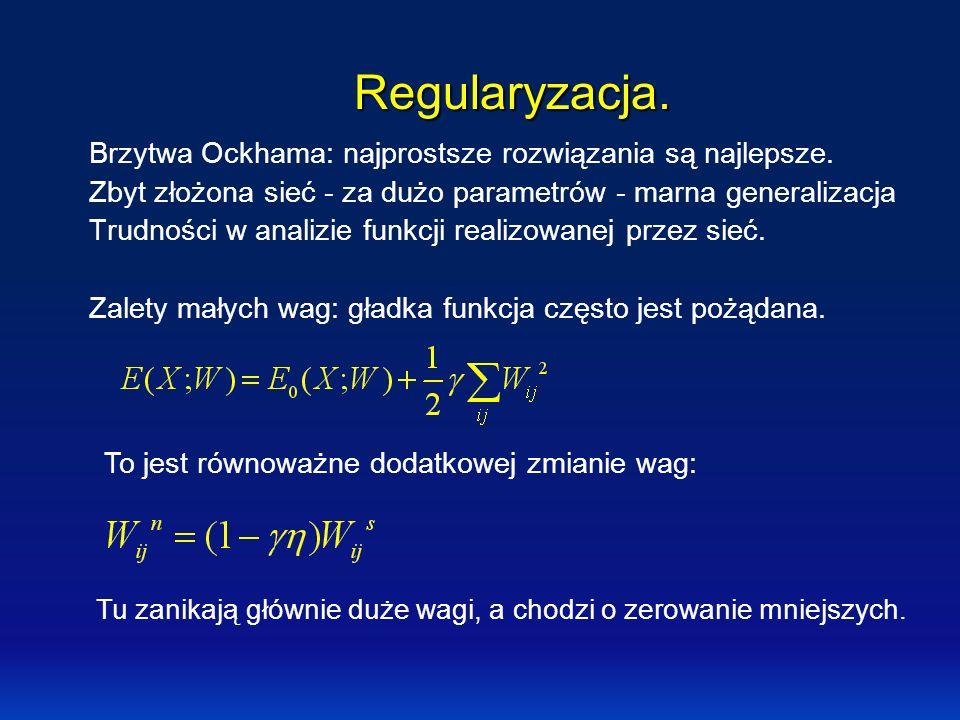 Regularyzacja. Brzytwa Ockhama: najprostsze rozwiązania są najlepsze. Zbyt złożona sieć - za dużo parametrów - marna generalizacja Trudności w analizi