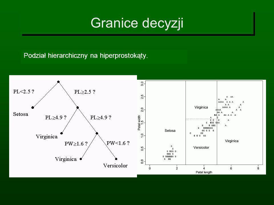 Granice decyzji Podział hierarchiczny na hiperprostokąty.