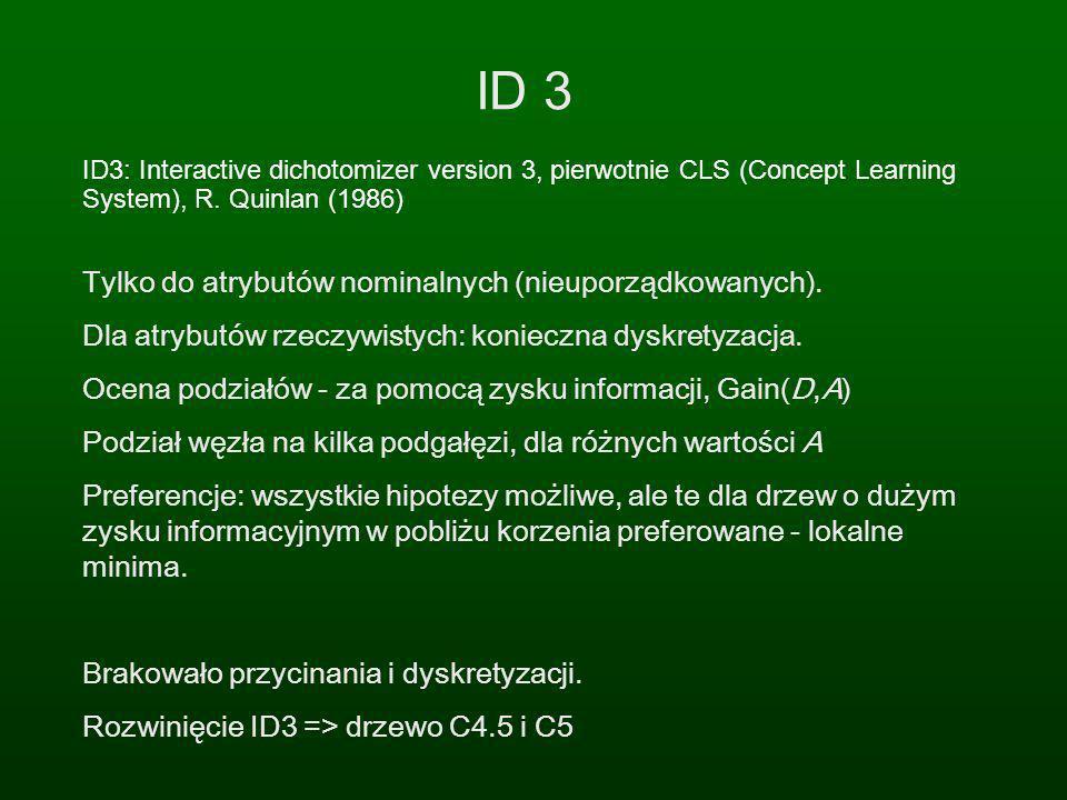 ID 3 ID3: Interactive dichotomizer version 3, pierwotnie CLS (Concept Learning System), R. Quinlan (1986) Tylko do atrybutów nominalnych (nieuporządko