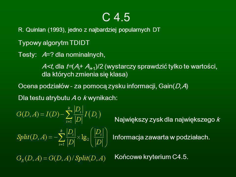 C 4.5 R. Quinlan (1993), jedno z najbardziej popularnych DT Typowy algorytm TDIDT Testy: A=? dla nominalnych, A<t, dla t=(A i + A i+1 )/2 (wystarczy s