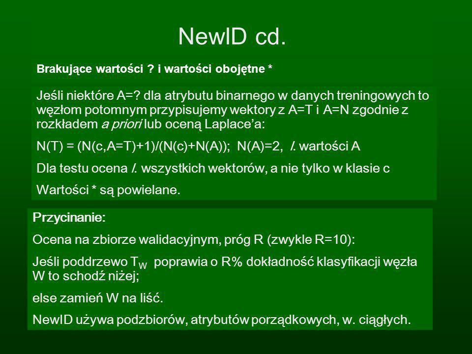 NewID cd. Brakujące wartości ? i wartości obojętne * Przycinanie: Ocena na zbiorze walidacyjnym, próg R (zwykle R=10): Jeśli poddrzewo T W poprawia o