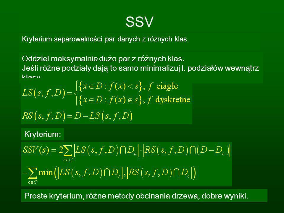 SSV Kryterium separowalności par danych z różnych klas. Oddziel maksymalnie dużo par z różnych klas. Jeśli różne podziały dają to samo minimalizuj l.