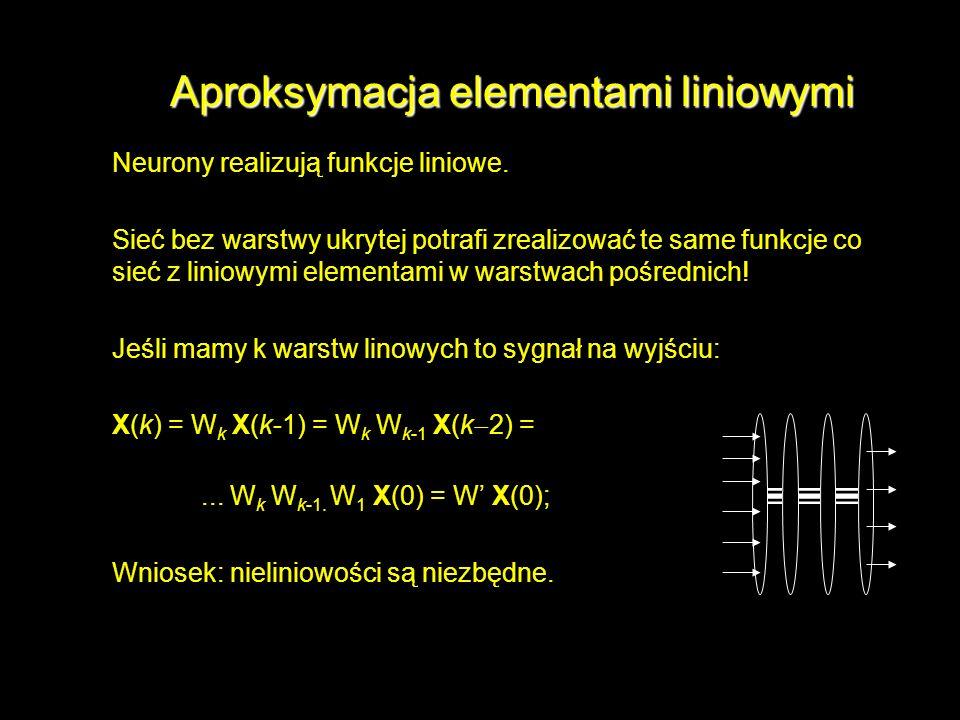Aproksymacja elementami liniowymi Neurony realizują funkcje liniowe. Sieć bez warstwy ukrytej potrafi zrealizować te same funkcje co sieć z liniowymi