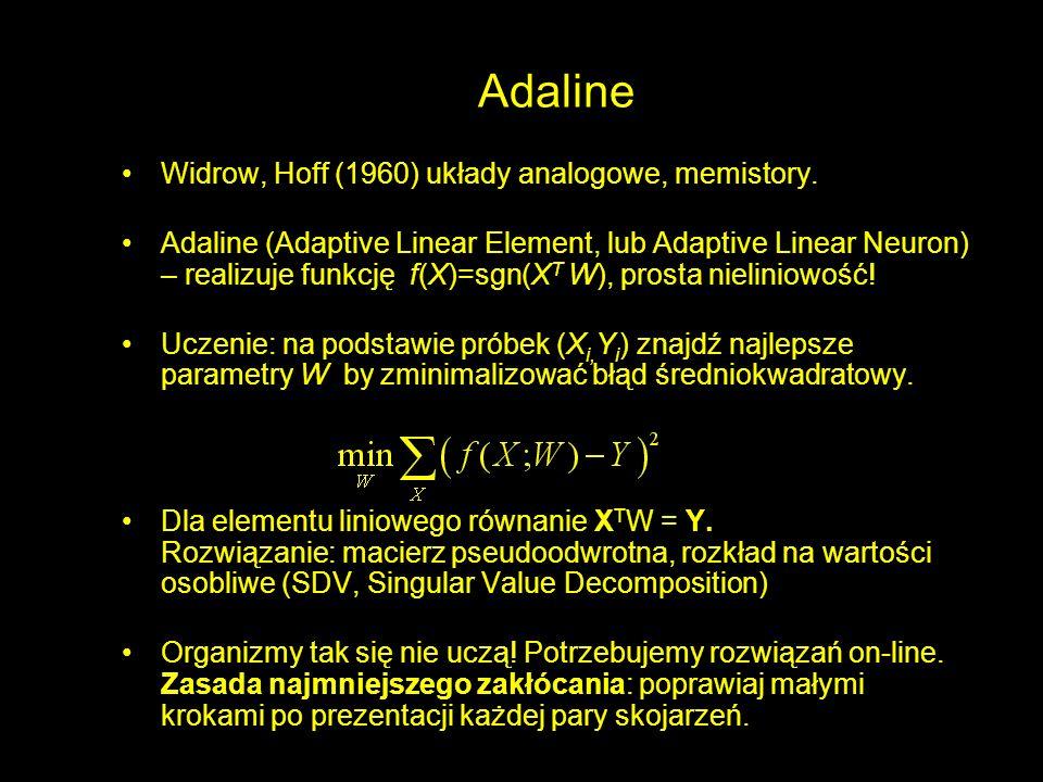 Adaline Widrow, Hoff (1960) układy analogowe, memistory. Adaline (Adaptive Linear Element, lub Adaptive Linear Neuron) – realizuje funkcję f(X)=sgn(X