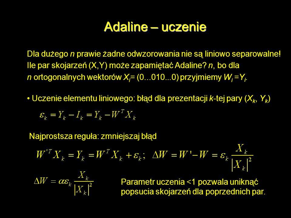 Adaline – uczenie Dla dużego n prawie żadne odwzorowania nie są liniowo separowalne! Ile par skojarzeń (X,Y) może zapamiętać Adaline? n, bo dla n orto