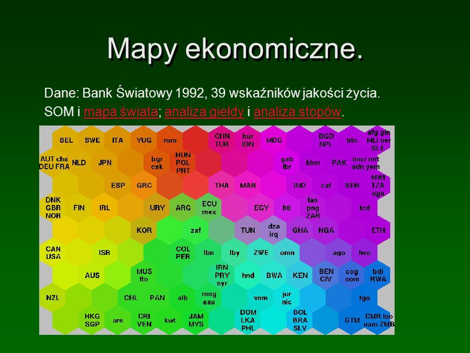 Mapy ekonomiczne. Dane: Bank Światowy 1992, 39 wskaźników jakości życia. SOM i mapa świata; analiza giełdy i analiza stopów.mapa świataanaliza giełdya