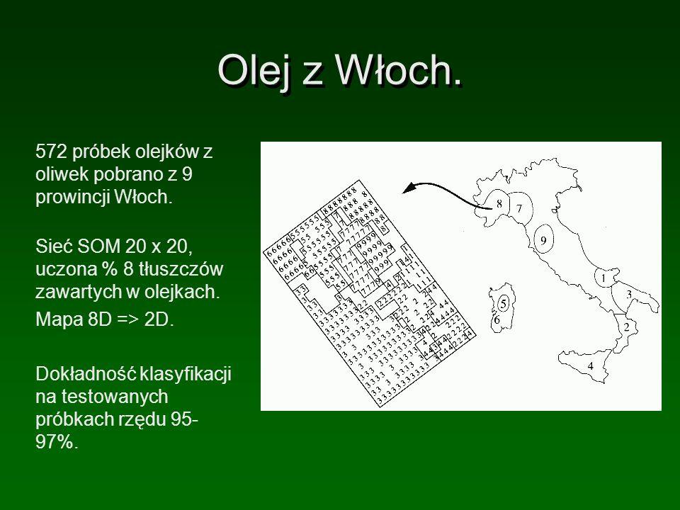 Olej z Włoch. 572 próbek olejków z oliwek pobrano z 9 prowincji Włoch. Sieć SOM 20 x 20, uczona % 8 tłuszczów zawartych w olejkach. Mapa 8D => 2D. Dok