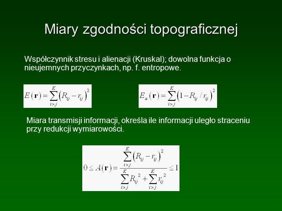 Miary zgodności topograficznej Współczynnik stresu i alienacji (Kruskal); dowolna funkcja o nieujemnych przyczynkach, np. f. entropowe. Miara transmis