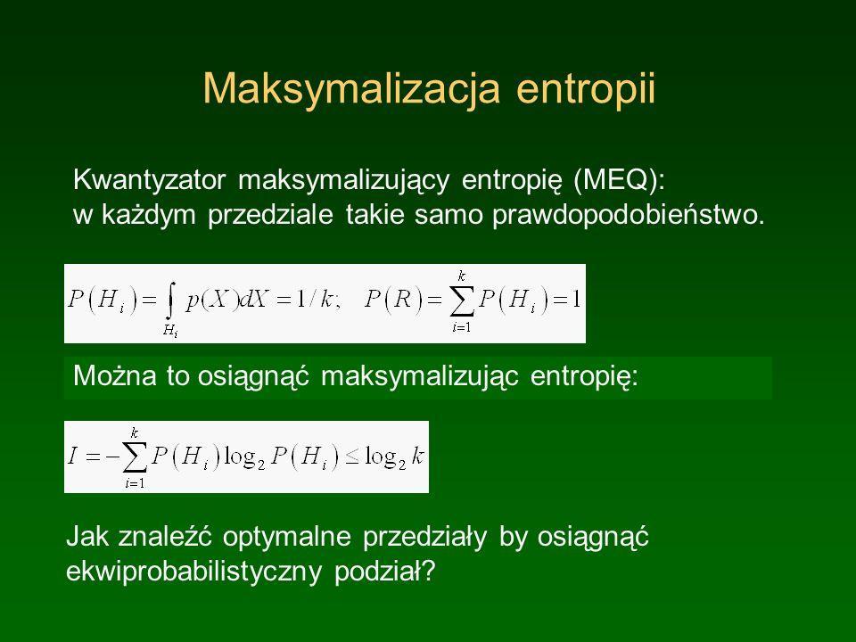 Maksymalizacja entropii Kwantyzator maksymalizujący entropię (MEQ): w każdym przedziale takie samo prawdopodobieństwo.