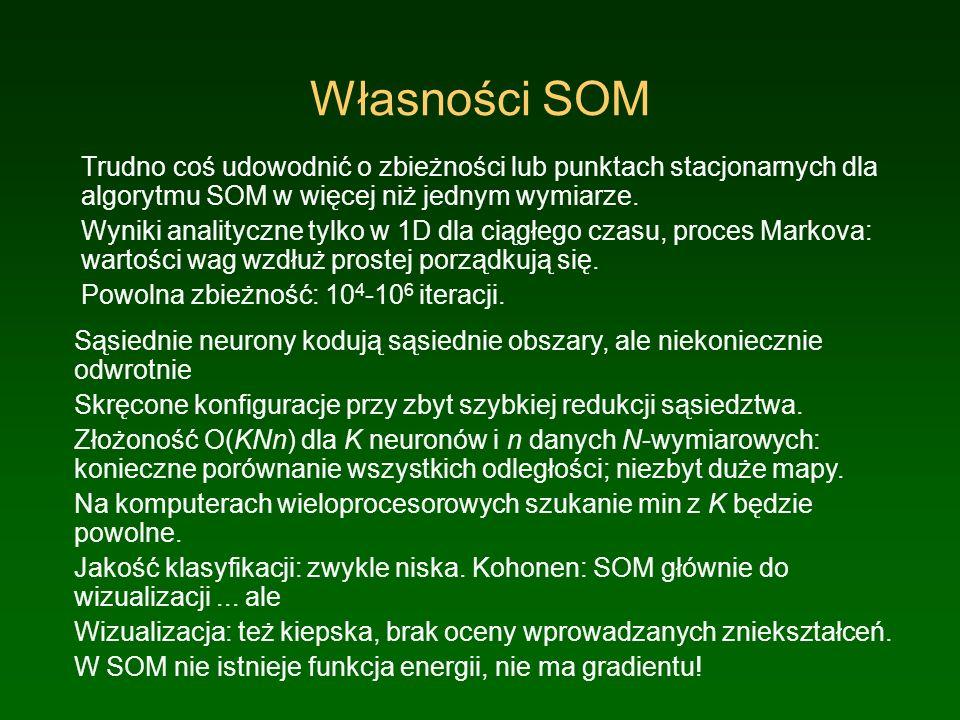 Własności SOM Trudno coś udowodnić o zbieżności lub punktach stacjonarnych dla algorytmu SOM w więcej niż jednym wymiarze. Wyniki analityczne tylko w