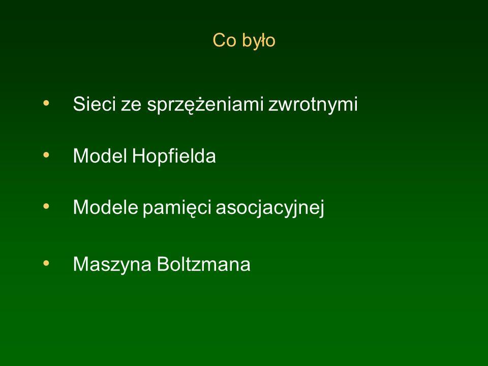 Co było Sieci ze sprzężeniami zwrotnymi Model Hopfielda Modele pamięci asocjacyjnej Maszyna Boltzmana