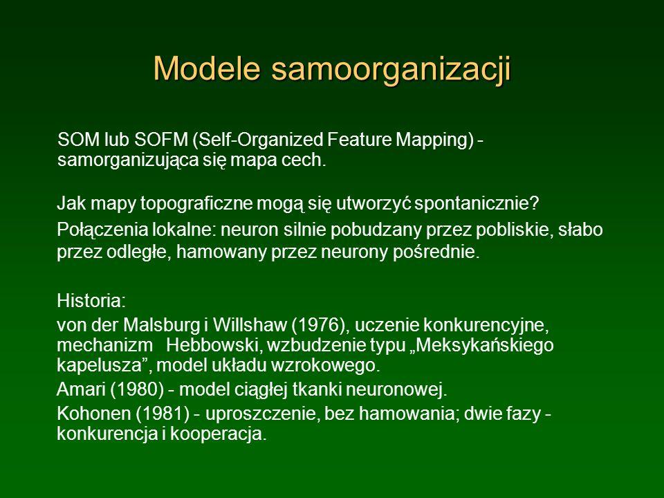 Modele samoorganizacji SOM lub SOFM (Self-Organized Feature Mapping) - samorganizująca się mapa cech. Jak mapy topograficzne mogą się utworzyć spontan