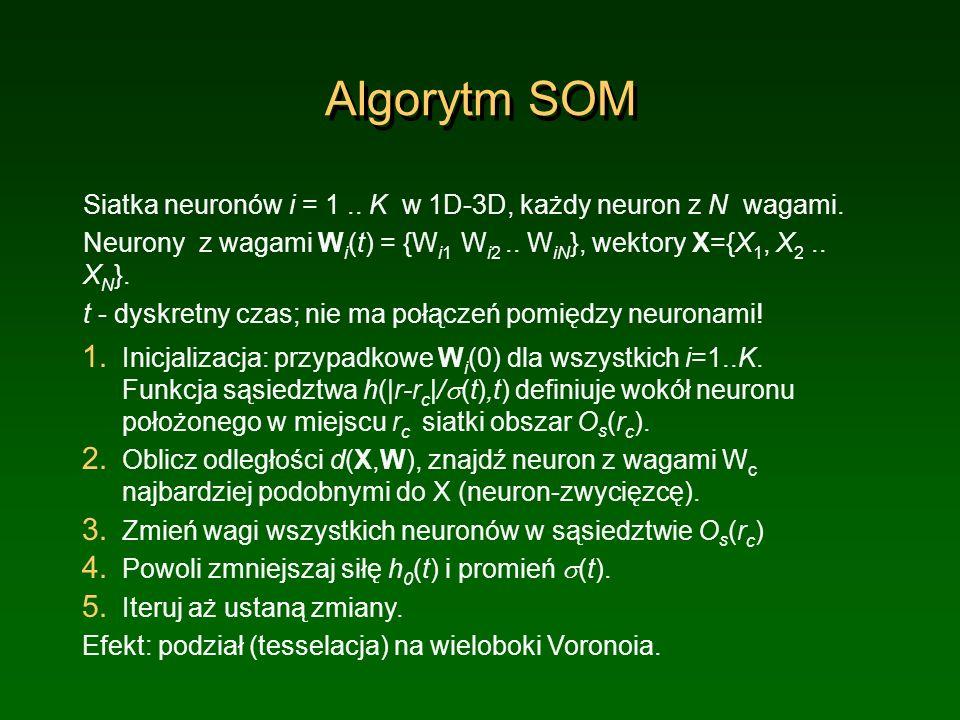 Algorytm SOM Siatka neuronów i = 1.. K w 1D-3D, każdy neuron z N wagami. Neurony z wagami W i (t) = {W i1 W i2.. W iN }, wektory X={X 1, X 2.. X N }.