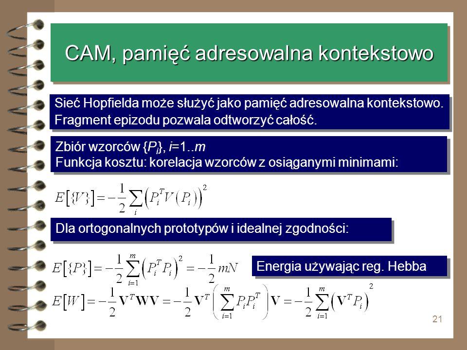 21 CAM, pamięć adresowalna kontekstowo Sieć Hopfielda może służyć jako pamięć adresowalna kontekstowo. Fragment epizodu pozwala odtworzyć całość. Sieć
