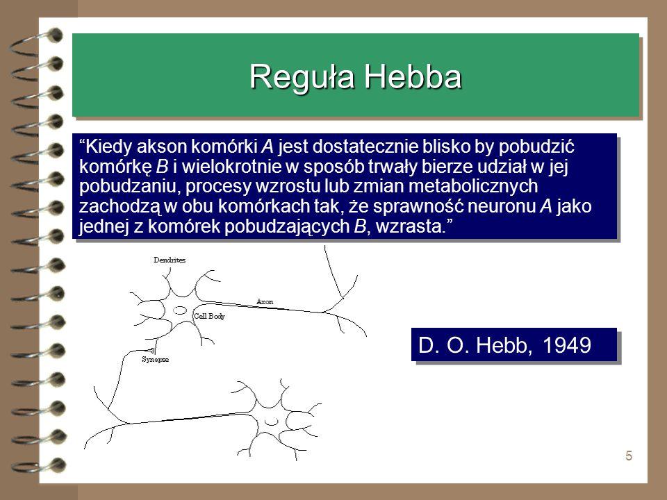 5 Reguła Hebba Kiedy akson komórki A jest dostatecznie blisko by pobudzić komórkę B i wielokrotnie w sposób trwały bierze udział w jej pobudzaniu, pro