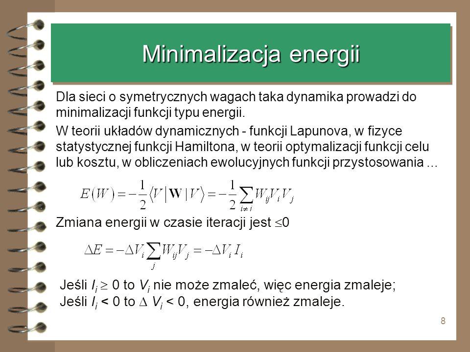 8 Minimalizacja energii Dla sieci o symetrycznych wagach taka dynamika prowadzi do minimalizacji funkcji typu energii. W teorii układów dynamicznych -