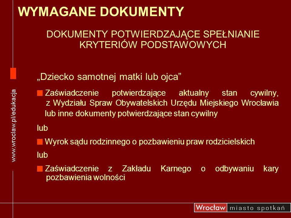 Dziecko samotnej matki lub ojca Zaświadczenie potwierdzające aktualny stan cywilny, z Wydziału Spraw Obywatelskich Urzędu Miejskiego Wrocławia lub inn