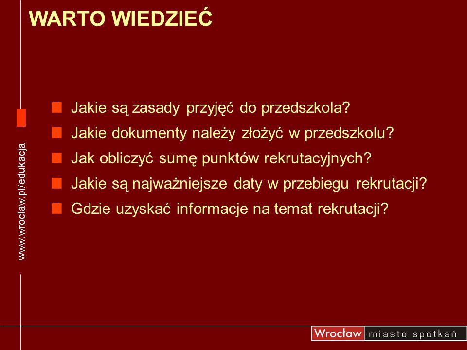 To kolejny rok, w którym rekrutacja do przedszkola odbywa się z wykorzystaniem systemu elektronicznego Taki system: jest jednolity i czytelny dla rodziców/prawnych opiekunów zapewnia sprawne przeprowadzenie rekrutacji pozwala optymalnie wykorzystać miejsca w przedszkolach pozwala na bieżącą kontrolę liczby wolnych miejsc w przedszkolu ZASADY REKRUTACJI www.wroclaw.pl/edukacja