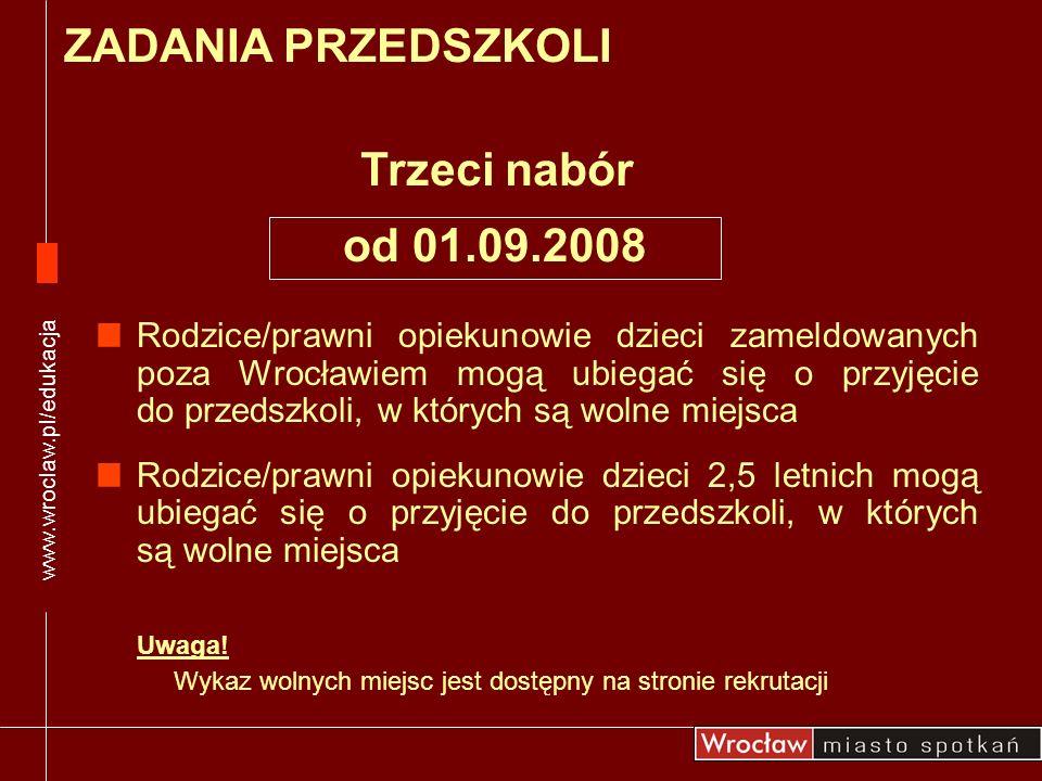 Rodzice/prawni opiekunowie dzieci zameldowanych poza Wrocławiem mogą ubiegać się o przyjęcie do przedszkoli, w których są wolne miejsca Rodzice/prawni