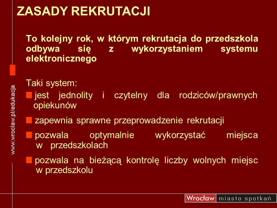 Rodzic/prawny opiekun znajdzie: informator o przedszkolach terminy rekrutacji zasady rekrutacji konto edukacyjne dziecka podanie i oświadczenie woli korzystania z usług przedszkola inne ważne informacje www.wroclaw.pl/edukacja NA STRONIE REKRUTACJI www.wroclaw.pl/edukacja