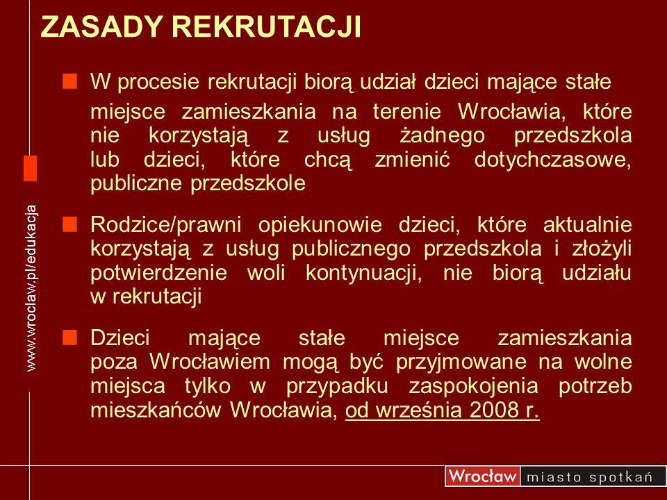 Przedszkola wywieszają: listy przyjętych dzieci, których rodzice/prawni opiekunowie złożyli oświadczenie woli korzystania z usług przedszkola listy wolnych miejsc w przedszkolach WYNIKI REKRUTACJI www.wroclaw.pl/edukacja 25.04.2008 do godz.