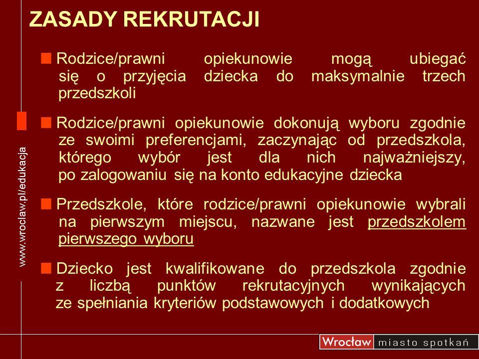 Przedszkola przyjmują do grup wiekowych dzieci w miarę posiadania wolnych miejsc ZADANIA PRZEDSZKOLI 28.04-29.08.2008 Drugi nabór www.wroclaw.pl/edukacja