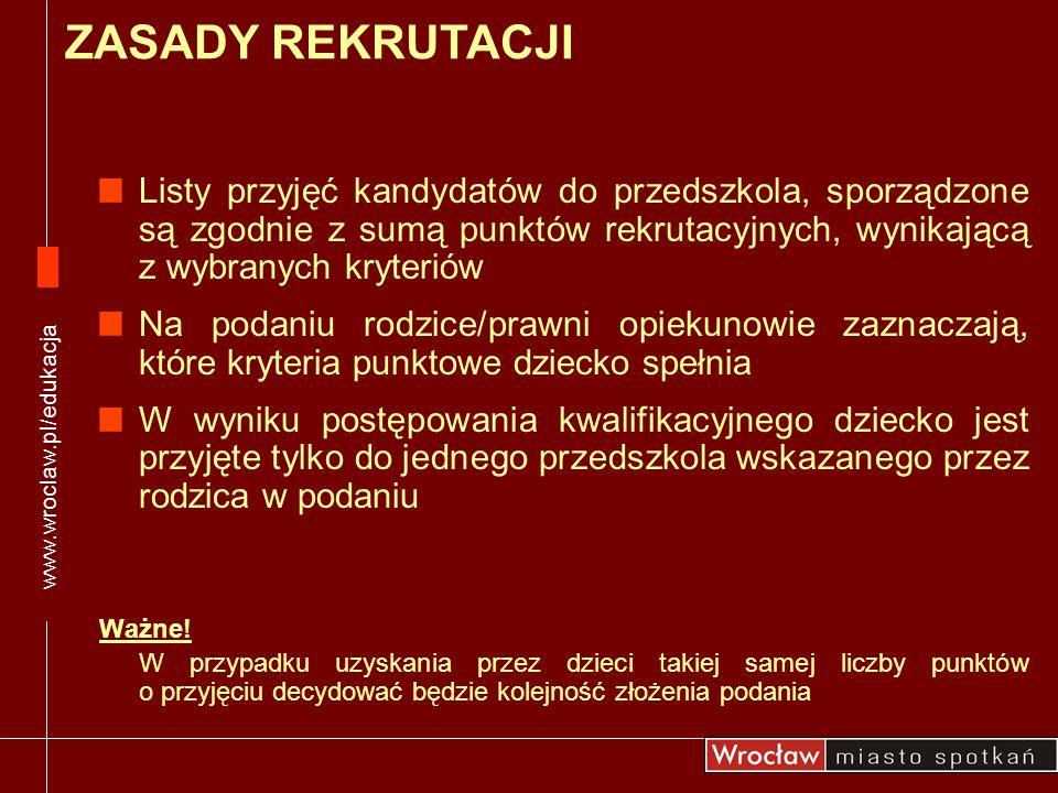 Rodzice/prawni opiekunowie dzieci zameldowanych poza Wrocławiem mogą ubiegać się o przyjęcie do przedszkoli, w których są wolne miejsca Rodzice/prawni opiekunowie dzieci 2,5 letnich mogą ubiegać się o przyjęcie do przedszkoli, w których są wolne miejsca Uwaga.