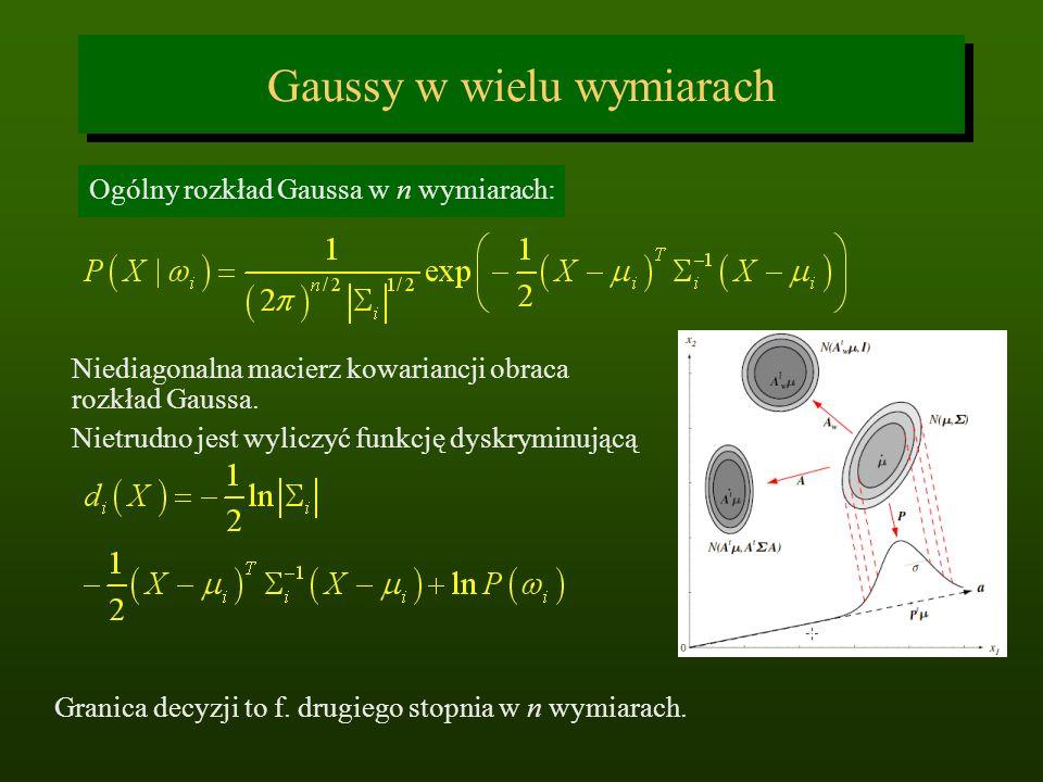 Gaussy w wielu wymiarach Ogólny rozkład Gaussa w n wymiarach: Niediagonalna macierz kowariancji obraca rozkład Gaussa. Nietrudno jest wyliczyć funkcję