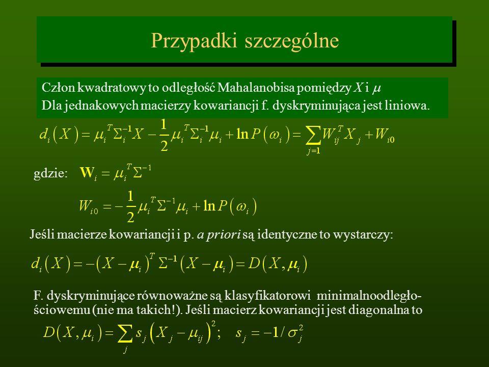 Przypadki szczególne Człon kwadratowy to odległość Mahalanobisa pomiędzy X i Dla jednakowych macierzy kowariancji f. dyskryminująca jest liniowa. gdzi