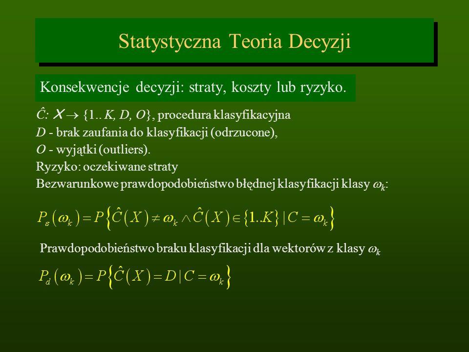 Statystyczna Teoria Decyzji Konsekwencje decyzji: straty, koszty lub ryzyko. Ĉ: X {1.. K, D, O}, procedura klasyfikacyjna D - brak zaufania do klasyfi