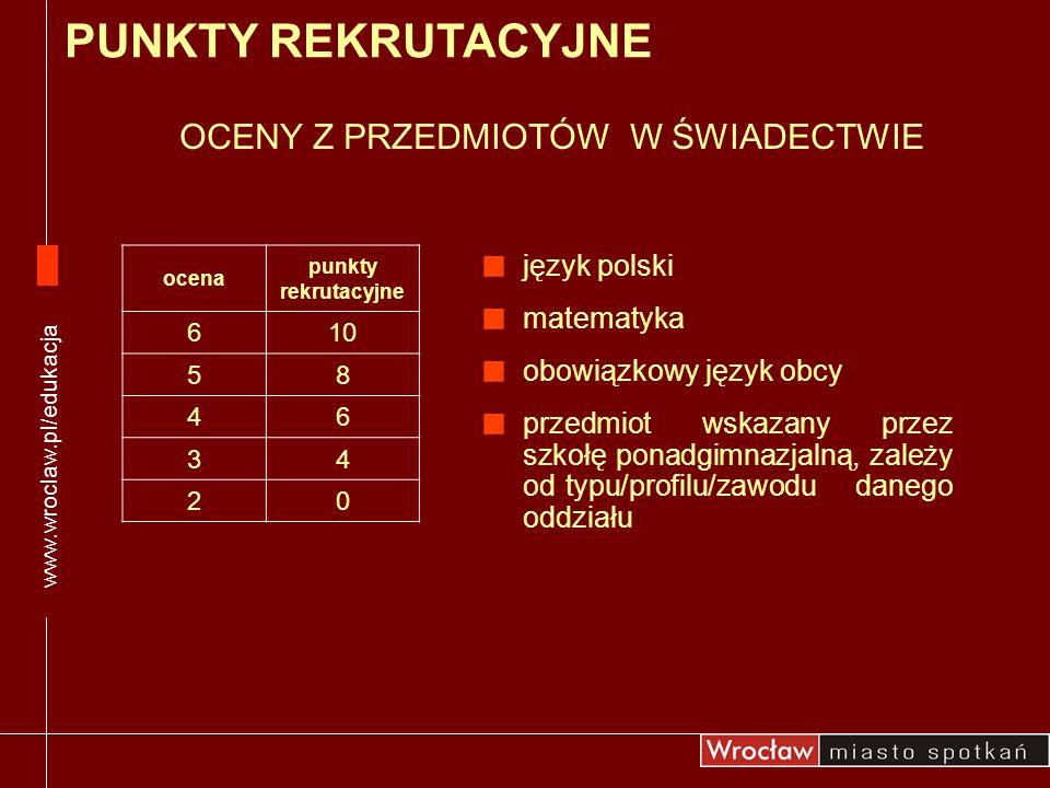 OCENY Z PRZEDMIOTÓW W ŚWIADECTWIE język polski matematyka obowiązkowy język obcy przedmiot wskazany przez szkołę ponadgimnazjalną, zależy od typu/prof