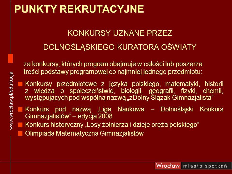 Konkursy przedmiotowe z języka polskiego, matematyki, historii z wiedzą o społeczeństwie, biologii, geografii, fizyki, chemii, występujących pod wspól