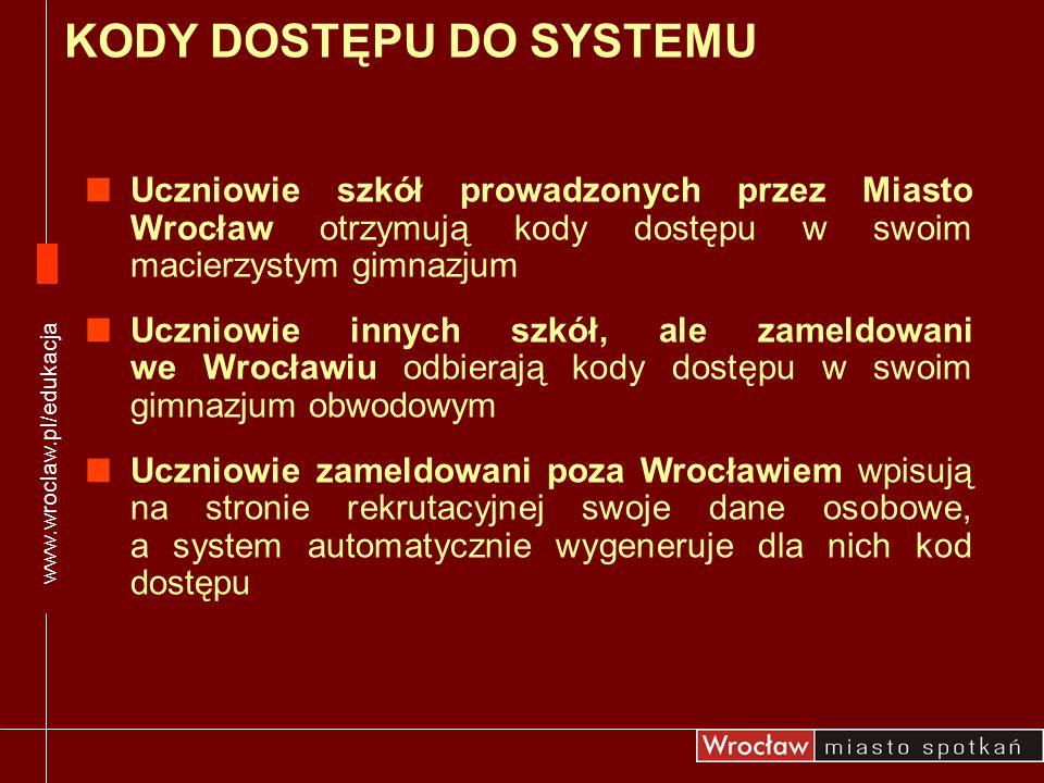 Uczniowie szkół prowadzonych przez Miasto Wrocław otrzymują kody dostępu w swoim macierzystym gimnazjum Uczniowie innych szkół, ale zameldowani we Wro