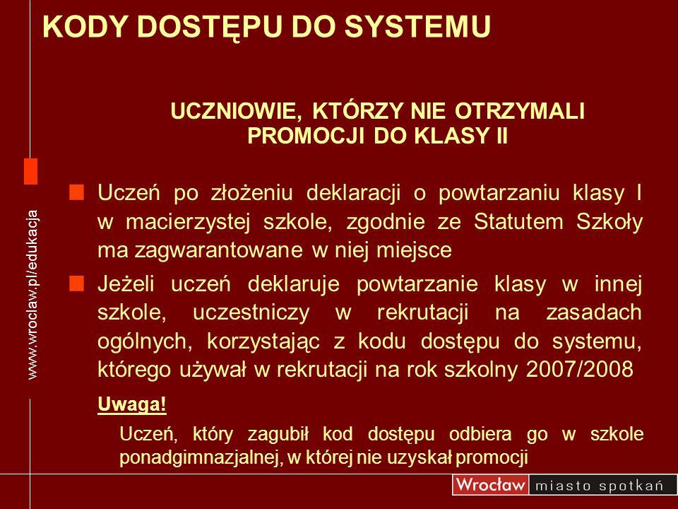 www.wroclaw.pl/edukacja UCZNIOWIE, KTÓRZY NIE OTRZYMALI PROMOCJI DO KLASY II Uczeń po złożeniu deklaracji o powtarzaniu klasy I w macierzystej szkole,