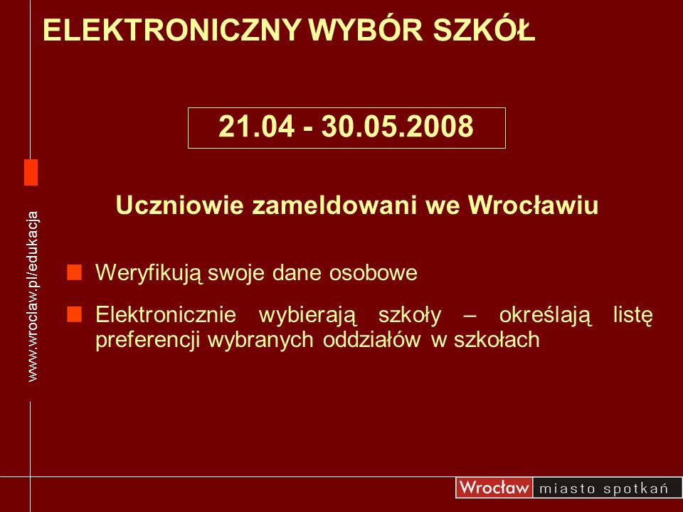 Uczniowie zameldowani we Wrocławiu Weryfikują swoje dane osobowe Elektronicznie wybierają szkoły – określają listę preferencji wybranych oddziałów w s