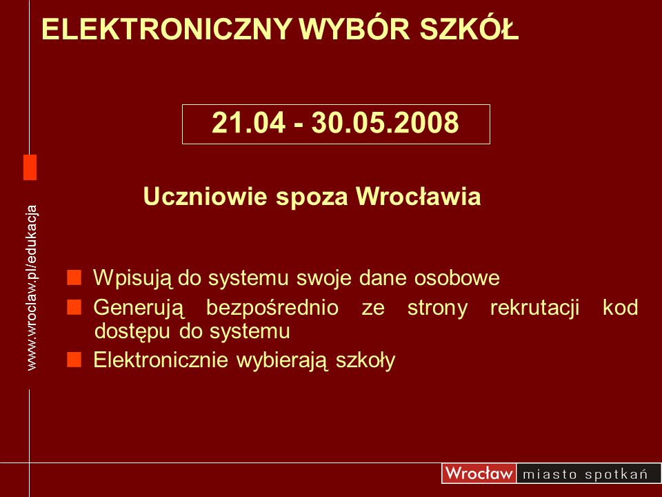 Uczniowie spoza Wrocławia Wpisują do systemu swoje dane osobowe Generują bezpośrednio ze strony rekrutacji kod dostępu do systemu Elektronicznie wybie