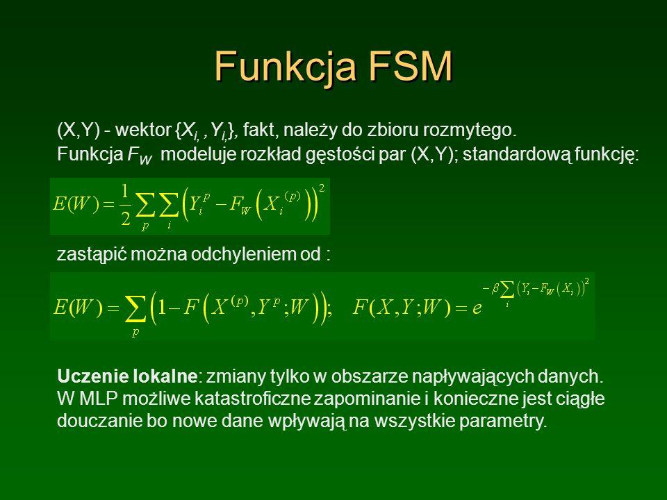 Funkcja FSM (X,Y) - wektor {X i,,Y i, }, fakt, należy do zbioru rozmytego.