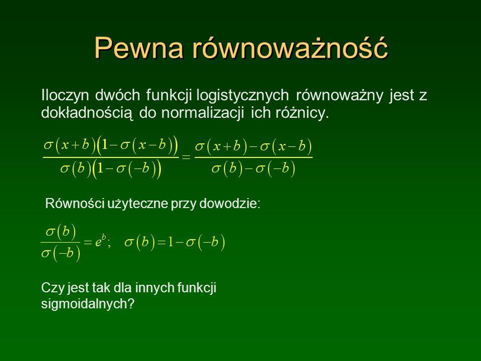 Pewna równoważność Iloczyn dwóch funkcji logistycznych równoważny jest z dokładnością do normalizacji ich różnicy.