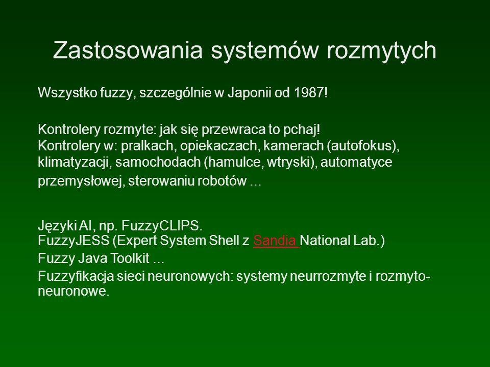 Zastosowania systemów rozmytych Wszystko fuzzy, szczególnie w Japonii od 1987.